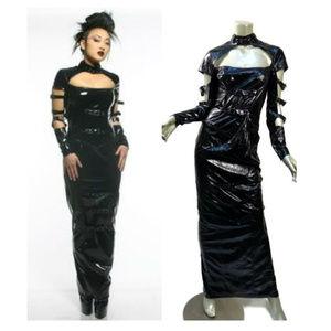 Lip Service Black PVC Bondage Hobble Dress Straps